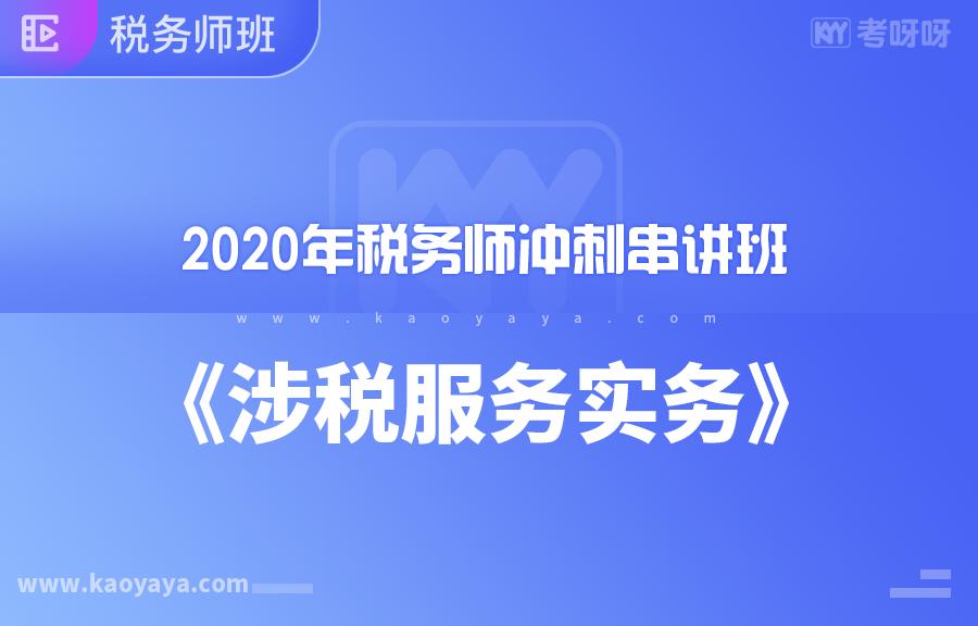2020年税务师冲刺串讲班《涉税服务实务》